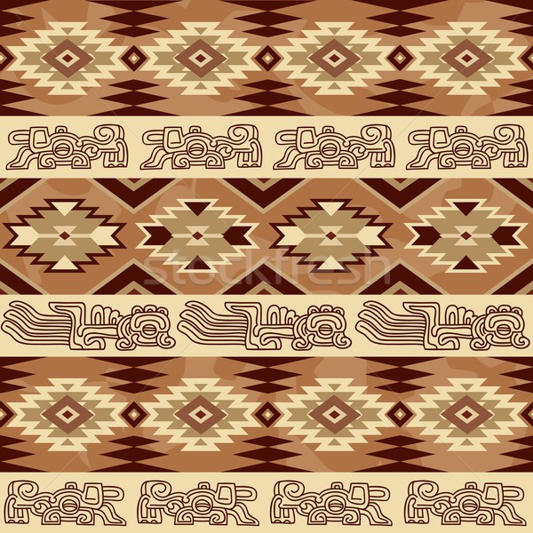 Abstract geometric seamless pattern Aztec traditional ornament Stock photo © Terriana