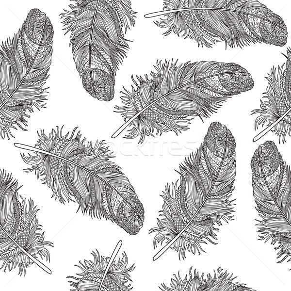 Birds feather ornamental seamless pattern. American native sign  Stock photo © Terriana