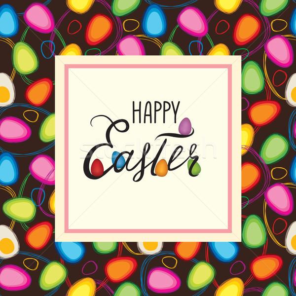 Stock fotó: Kellemes · húsvétot · üdvözlőlap · ünnep · húsvéti · tojások · tavasz · dekoratív