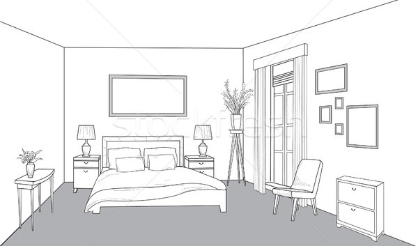 Bedroom furniture. Interior outline sketch. Vintage style bed ro Stock photo © Terriana
