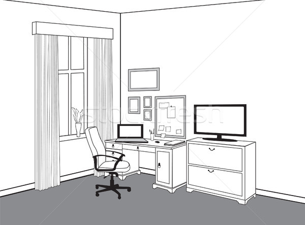 Workspace view at home office. Workplace with computer. Cabinet Stock photo © Terriana