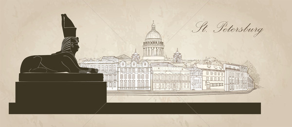 St. Petersburg city, Russia. Saint Isaac's cathedral, Sphinx monument. Skyline view Stock photo © Terriana