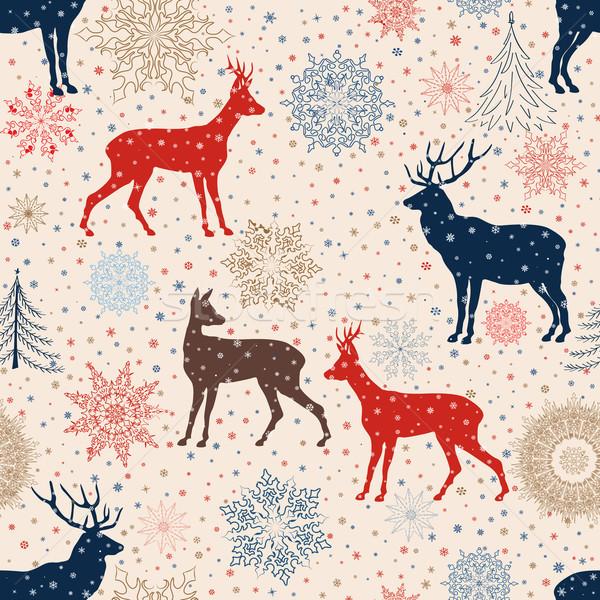 Christmas sneeuw herten winter vakantie Stockfoto © Terriana