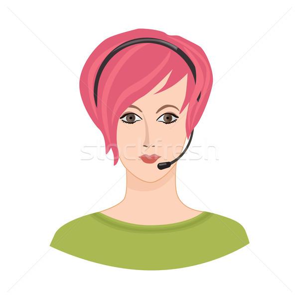 Avatar icon. Female profile sign. Woman portrait. Support service Stock photo © Terriana