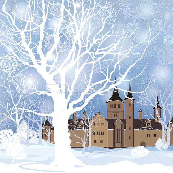 Winter landscape. Snow forest and castle building background Stock photo © Terriana