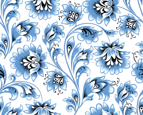Floral seamless pattern. Flower background. Ornamental russian ethic style Stock photo © Terriana