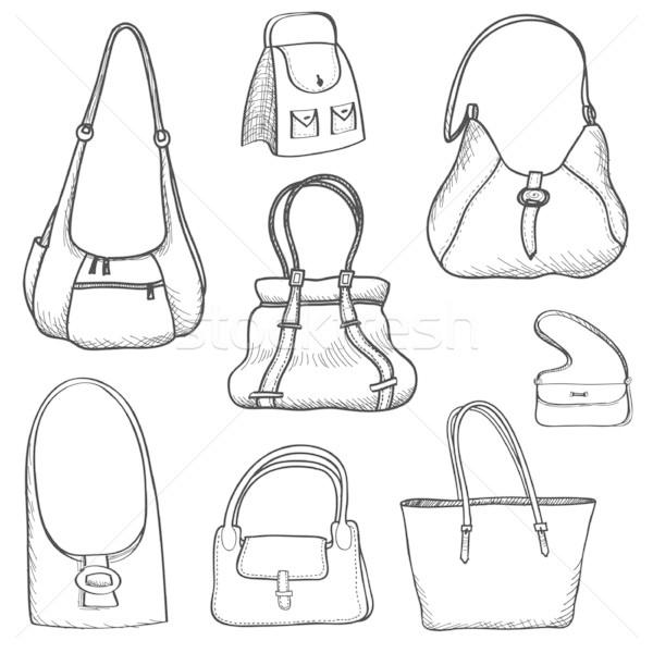 Szett divat nők táska gyűjtemény firka Stock fotó © Terriana