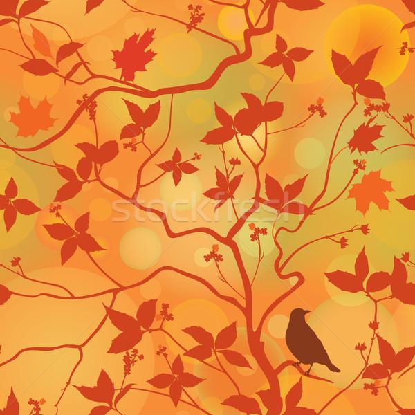 ősz levelek virágmintás végtelen minta ősz erdő Stock fotó © Terriana