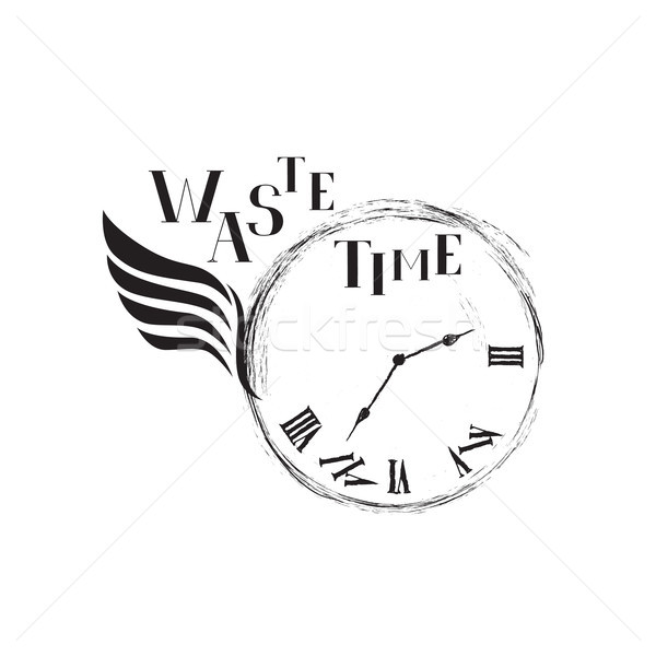 Waste time concept. Doodle retro watch dial with wing, handwritt Stock photo © Terriana