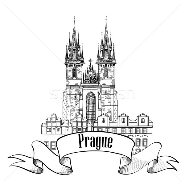 Prague city sign. Famous landmark, Tyn Cathedral with Tower. Travel Europe background. Stock photo © Terriana