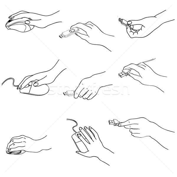 Hands set. Hand holding memory stick, computing, mouse, plug. Doodle draw collection. Stock photo © Terriana