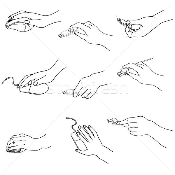 Manos establecer mano memoria palo Foto stock © Terriana