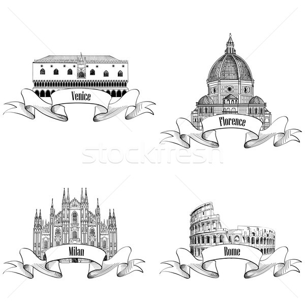 Famous city landmark set: Rome, Milan, Venice, Florence. Travel Italy Stock photo © Terriana