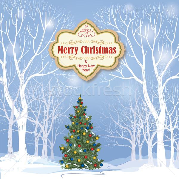 Karácsony hó tél tájkép ünnep üdvözlőlap Stock fotó © Terriana