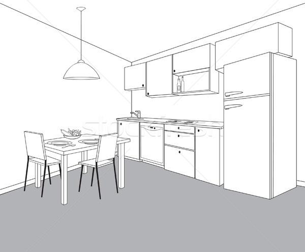 Innenraum Küche Zimmer Gliederung Möbel Design Stock foto © Terriana