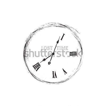 Waste time sign concept. Doodle retro watch dial with damaged nu Stock photo © Terriana