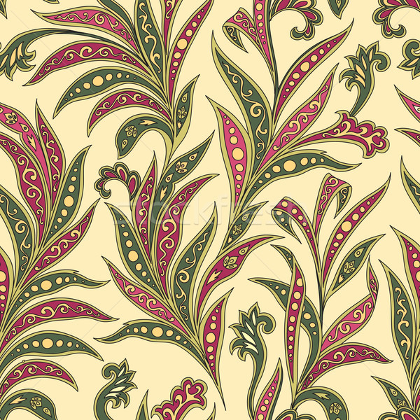 Floral leaf seamless pattern. Abstract branch with leaves orname Stock photo © Terriana