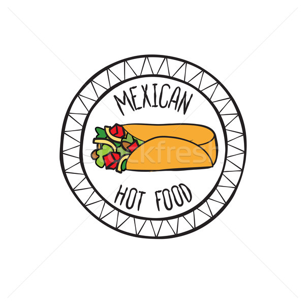 Mexican burrito food doodle symbol. Round shape sign. Fastfood icon. Stock photo © Terriana