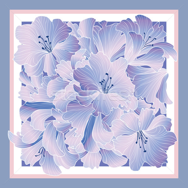 Floral pattern decor for silk tiussiue. Delicate color flower de Stock photo © Terriana