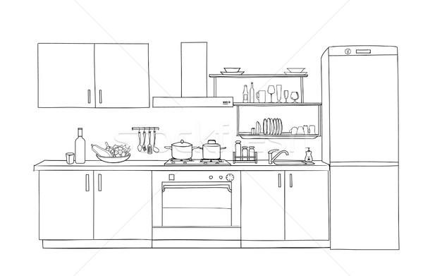 Innenraum Skizze Küche Zimmer Gliederung Blaupause Stock foto © Terriana