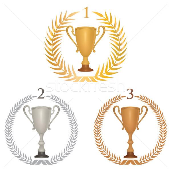 Vincitore Cup trofei set alloro ghirlanda Foto d'archivio © Terriana