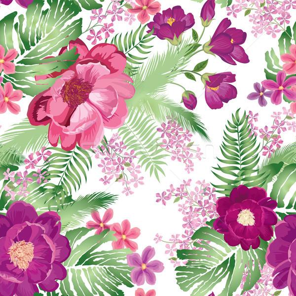 Virágmintás végtelen minta tavaszi virág rózsa virágcsokor díszítő Stock fotó © Terriana