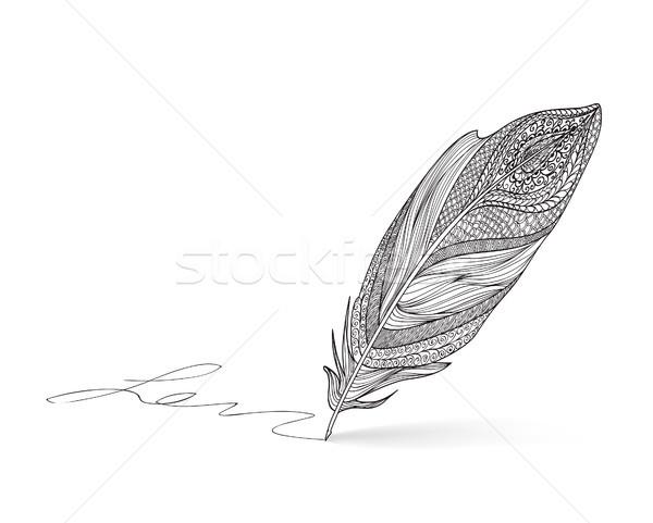 Feder Stift Symbol Schriftkunst Zeichen schriftlich Stock foto © Terriana