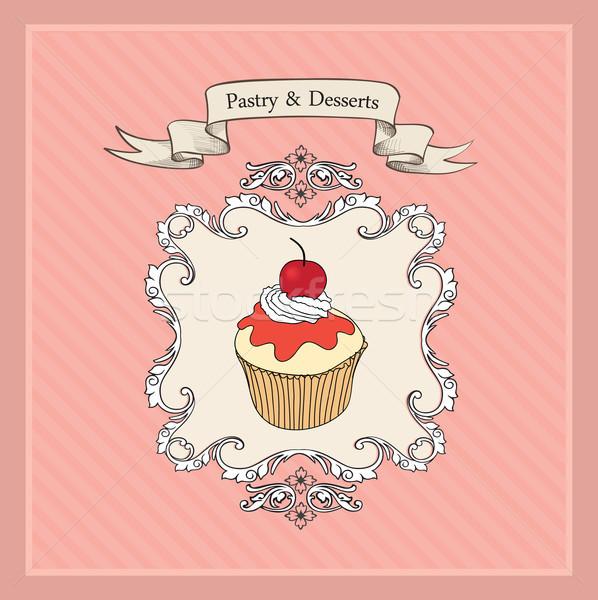 Ciasto Kafejka menu piekarni etykiety słodkie Zdjęcia stock © Terriana