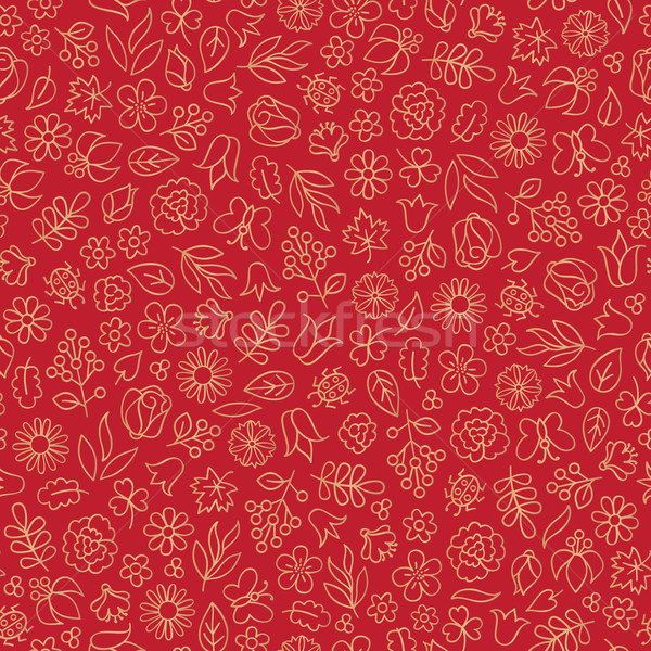 Flower, leaves, berry icons. Floral fall seamless pattern. Autum Stock photo © Terriana