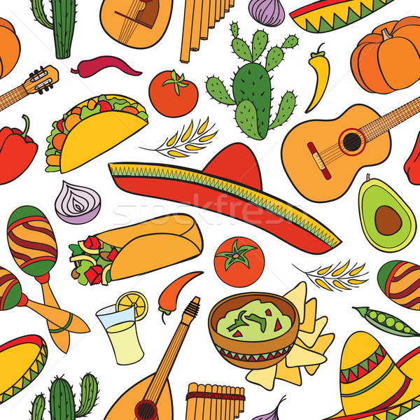 Mexikói étel hangszerek végtelen minta utazás Mexikó ikonok Stock fotó © Terriana