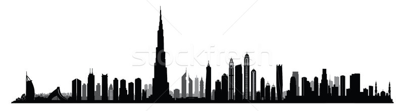 Ville Dubaï Skyline cityscape Émirats arabes unis urbaine Photo stock © Terriana