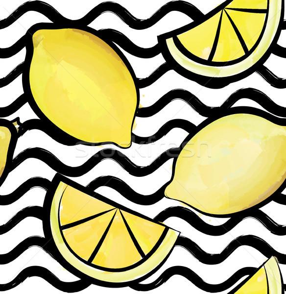 Wave tile pattern. Tropical fruit lemon ornamental wallpaper. Stock photo © Terriana