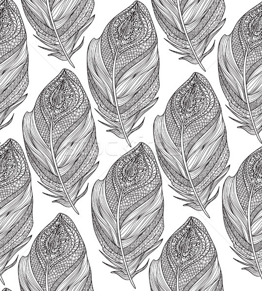 Feather seamless pattern. American native ornament Stock photo © Terriana