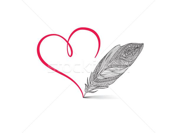 Szeretet szív piros kalligrafikus felirat rajzolt Stock fotó © Terriana