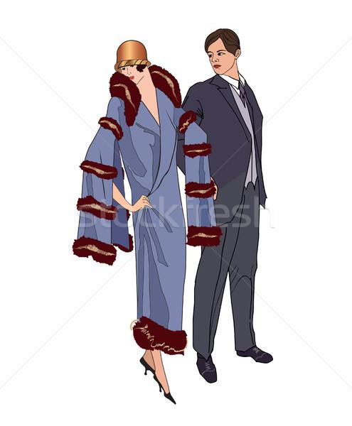 Pár buli férfi nő koktélruha klasszikus Stock fotó © Terriana