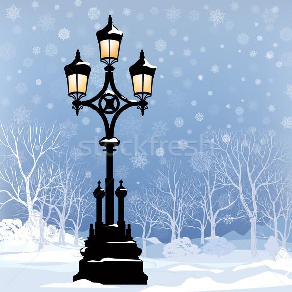 Christmas Winter Cityscape. Snow city park skyline, street lamp Stock photo © Terriana