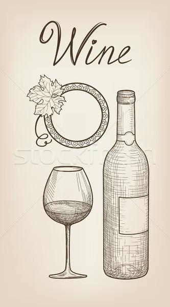 Wine set. Wine glass, bottle, lettering. Cafe menu. Wine card Stock photo © Terriana