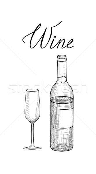 Stock photo: Wine set. Wine glass, bottle, lettering. Cafe menu. Wine card sk