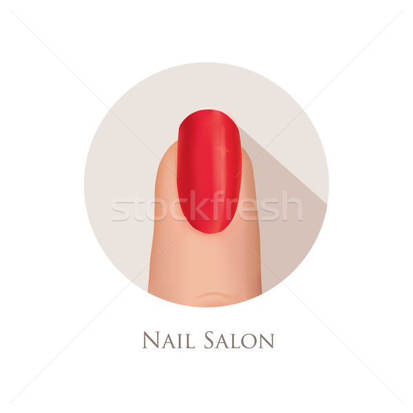 Nail polished finger sign. Nail beauty salon icon. Manicure nail Stock photo © Terriana