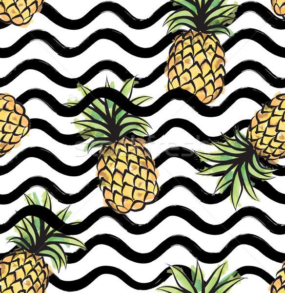 Gyümölcs hullám végtelen minta ananász étel absztrakt Stock fotó © Terriana