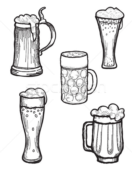 Beer ware set. Beer Mug and  Beer Glass silhouette collection. Stock photo © Terriana
