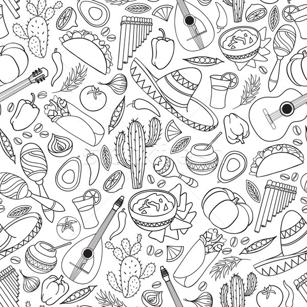 Mexican food and musical instruments seamless pattern. Travel Me Stock photo © Terriana