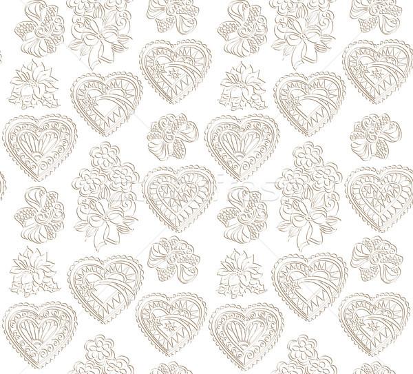 Szeretet szív végtelen minta ünnep üdvözlet boldog Stock fotó © Terriana