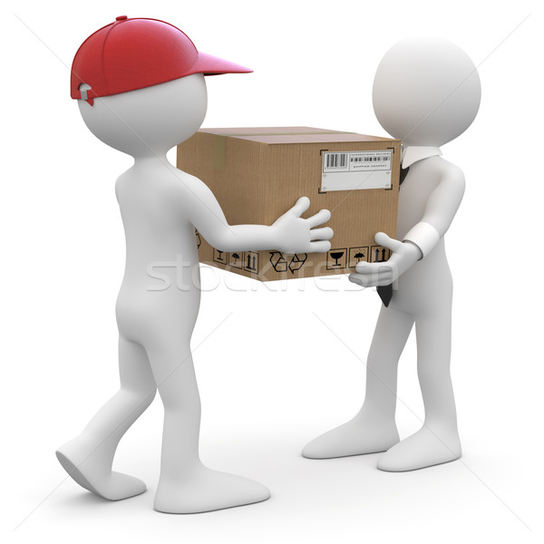 Worker delivering a package to a businessman Stock photo © texelart