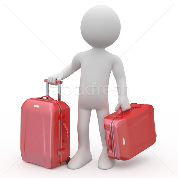 Man stand waiting with two red trolleys suitcases Stock photo © texelart
