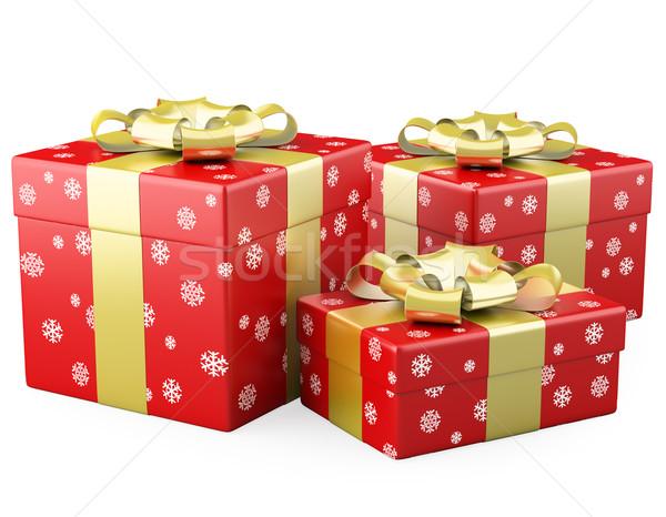 Drei · rot weihnachten geschenke gold band stock
