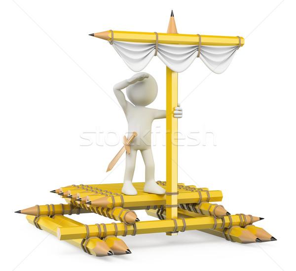 3D pessoas brancas imaginação criança jangada lápis Foto stock © texelart