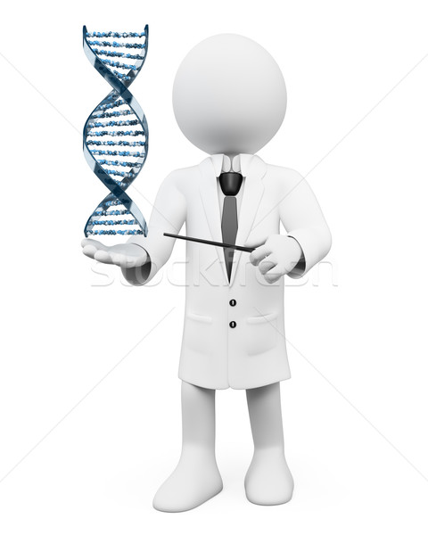 3D white people. Geneticist with a DNA strand Stock photo © texelart