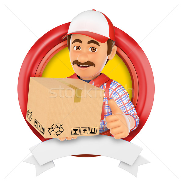 3D Logo. Courier service. Messenger Stock photo © texelart