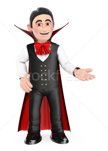 3D Funny monster. Vampire pointing aside. Blank space. Halloween Stock photo © texelart